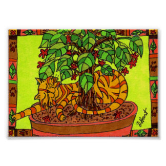 Tabby Cat Sleeping in a Potted Plant Mini Folk Art Poster