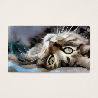 Tabby cat Watercolor Business Card