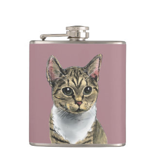Tabby Cat With Big Eyes Hip Flask