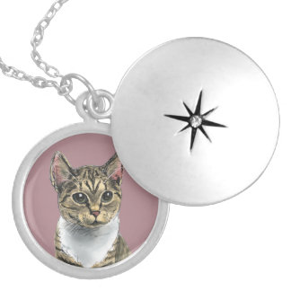 Tabby Cat With Big Eyes Locket Necklace