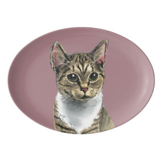 Tabby Cat With Big Eyes Porcelain Serving Platter