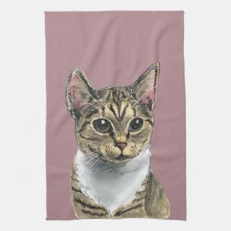 Tabby Cat With Big Eyes Tea Towel