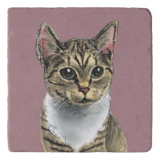 Tabby Cat With Big Eyes Trivet