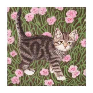 Tabby cat with carnations canvas print