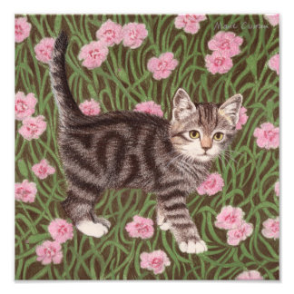 Tabby cat with carnations photo print