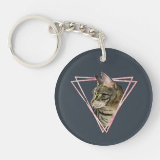Tabby Cat with Faux Blush Metallic Frame Key Ring