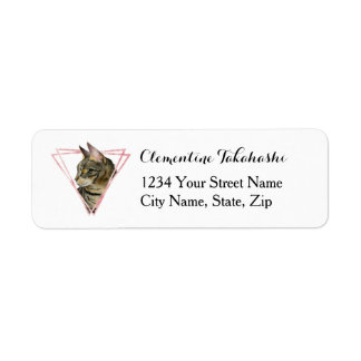 Tabby Cat with Faux Blush Metallic Frame Return Address Label