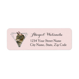 Tabby Cat with Faux Silver Glitter Frame Return Address Label