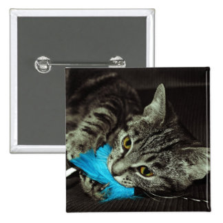 Tabby Cat with Feather 15 Cm Square Badge
