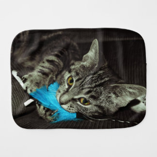 Tabby Cat with Feather by Shirley Taylor Burp Cloth