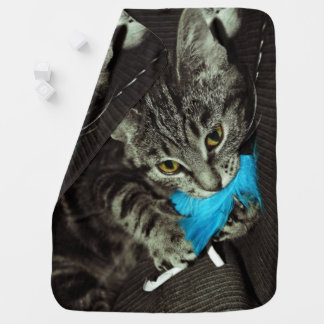 Tabby Cat with Feather by Shirley Taylor Receiving Blankets