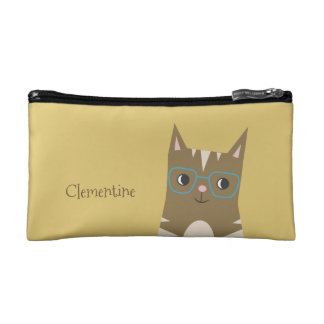 Tabby Cat with Glasses   Add Your Name Cosmetic Bag