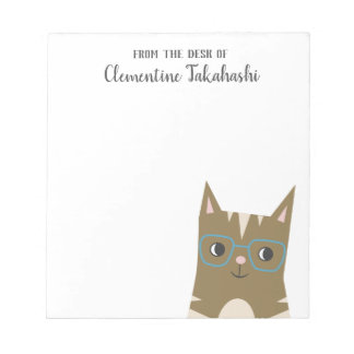 Tabby Cat with Glasses   Add Your Name Notepad