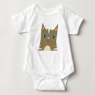 Tabby Cat with Glasses Baby Bodysuit