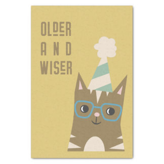 Tabby Cat with Glasses Birthday Tissue Paper