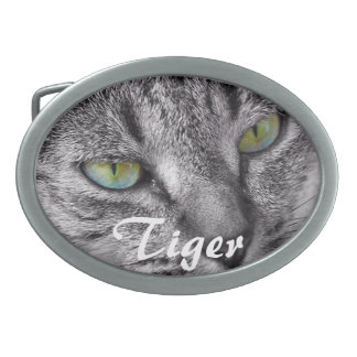 Tabby cat with green eyes belt buckle