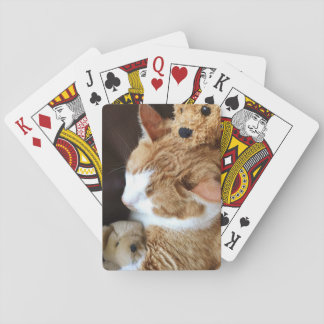 Tabby cat with old teddy bears playing cards