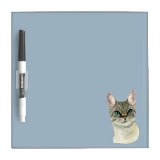 Tabby Cat with Pretty Green Eyes Watercolor Dry Erase Board
