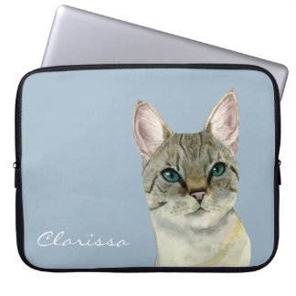 Tabby Cat with Pretty Green Eyes Watercolor Laptop Computer Sleeve