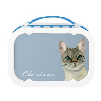 Tabby Cat with Pretty Green Eyes Watercolor Lunch Box