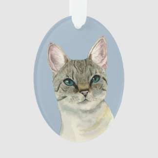 Tabby Cat with Pretty Green Eyes Watercolor Ornament