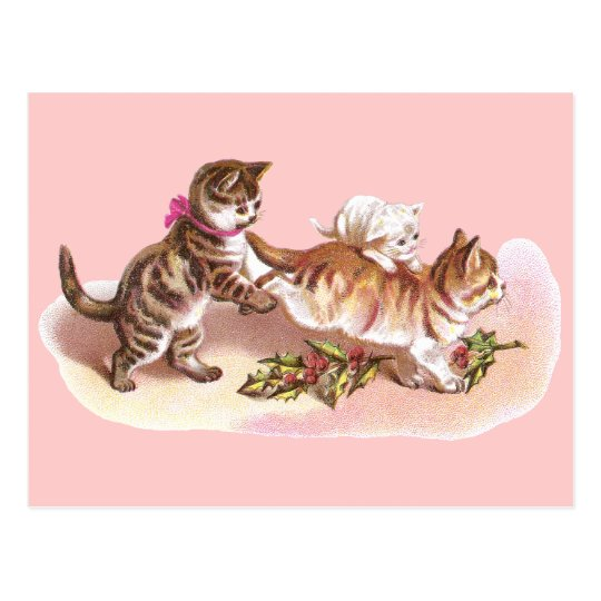 Tabby Cats & Holly Victorian Christmas Postcard