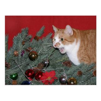 Tabby Christmas tree Postcard