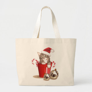 Tabby Kitten Christmas Canvas Bags