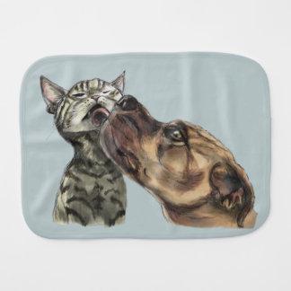 Tabby Kitten Getting A Pit Bull Kiss Baby Burp Cloths