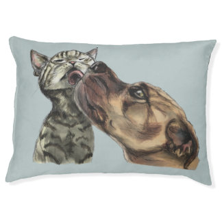 Tabby Kitten Getting A Pit Bull Kiss Pet Bed