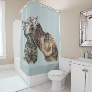 Tabby Kitten Getting A Pit Bull Kiss Shower Curtain