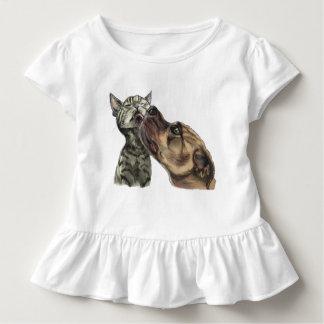 Tabby Kitten Getting A Pit Bull Kiss Toddler T-Shirt