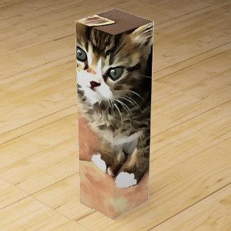 Tabby Kitten Named Miss Pip Squeak Wine Gift Box