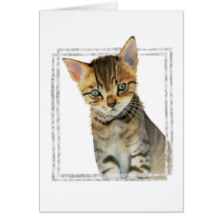 Tabby Kitten Painting with Faux Marble Frame Card
