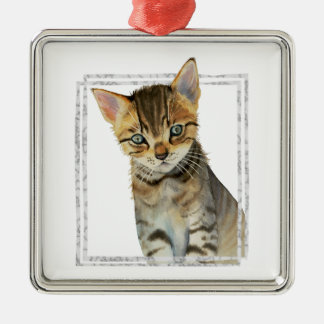 Tabby Kitten Painting with Faux Marble Frame Christmas Ornament