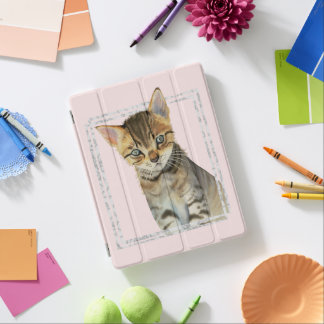 Tabby Kitten Painting with Faux Marble Frame iPad Cover