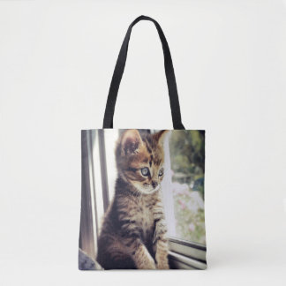 Tabby Kitten Watching Out Window Tote Bag