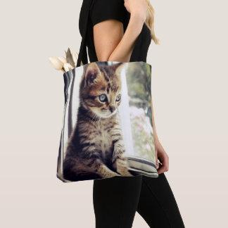 Tabby Kitten Watching Tote Bag