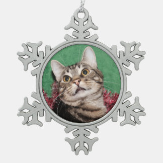 Tabby kitty face Christmas Pewter Snowflake Decoration