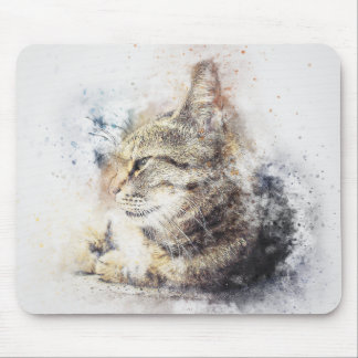 Tabby Love | Abstract | Watercolor Mouse Mat