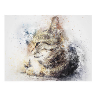 Tabby Love | Abstract | Watercolor Postcard