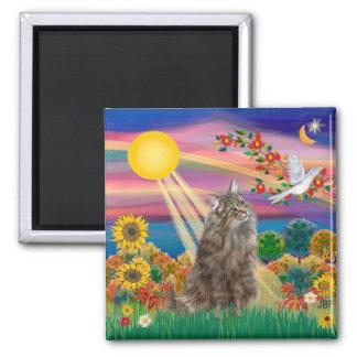 Tabby Norwegian Forest Cat - Autumn Sun Square Magnet