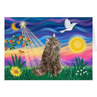 Tabby Norwegian Forest Cat - Twilight Greeting Cards