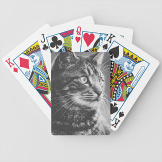 Tabby Profile | Big Eyes | Black and White Bicycle Playing Cards