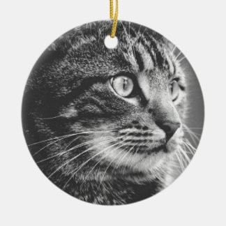 Tabby Profile | Big Eyes | Black and White Christmas Ornament