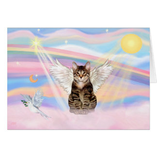 Tabby Tiger Cat Angel in Clouds Greeting Cards