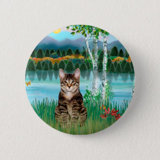 Tabby Tiger Cat  - Birches 6 Cm Round Badge