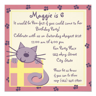 Tabby Toes Kitten Party 13 Cm X 13 Cm Square Invitation Card