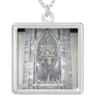 Tabernacle with Four Crowned Saints Silver Plated Necklace