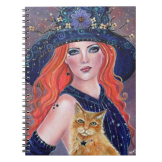 Tabitha Halloween witch and Kitty notebook